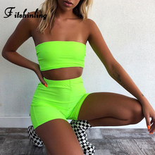Fitshinling Neon green biker shorts bra tracksuit women fitness sexy hot street two piece set athleisure bodybuilding outfits