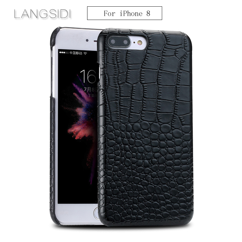 LANGSIDI For iPhone 8 case handmade Luxury genuine crocodile leather case back cover For iphone 6 6S 6P 6SP 7 7P 8 8PLUS X case