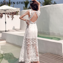 Summer lace backless dress sexy backless hollow out sleevele