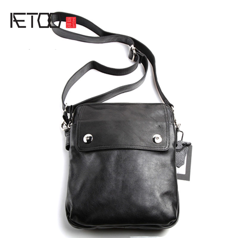 AETOO Pure leather Europe, Japan and South Korea fashion casual retro men's bag leather shoulder slung vintage men's bag