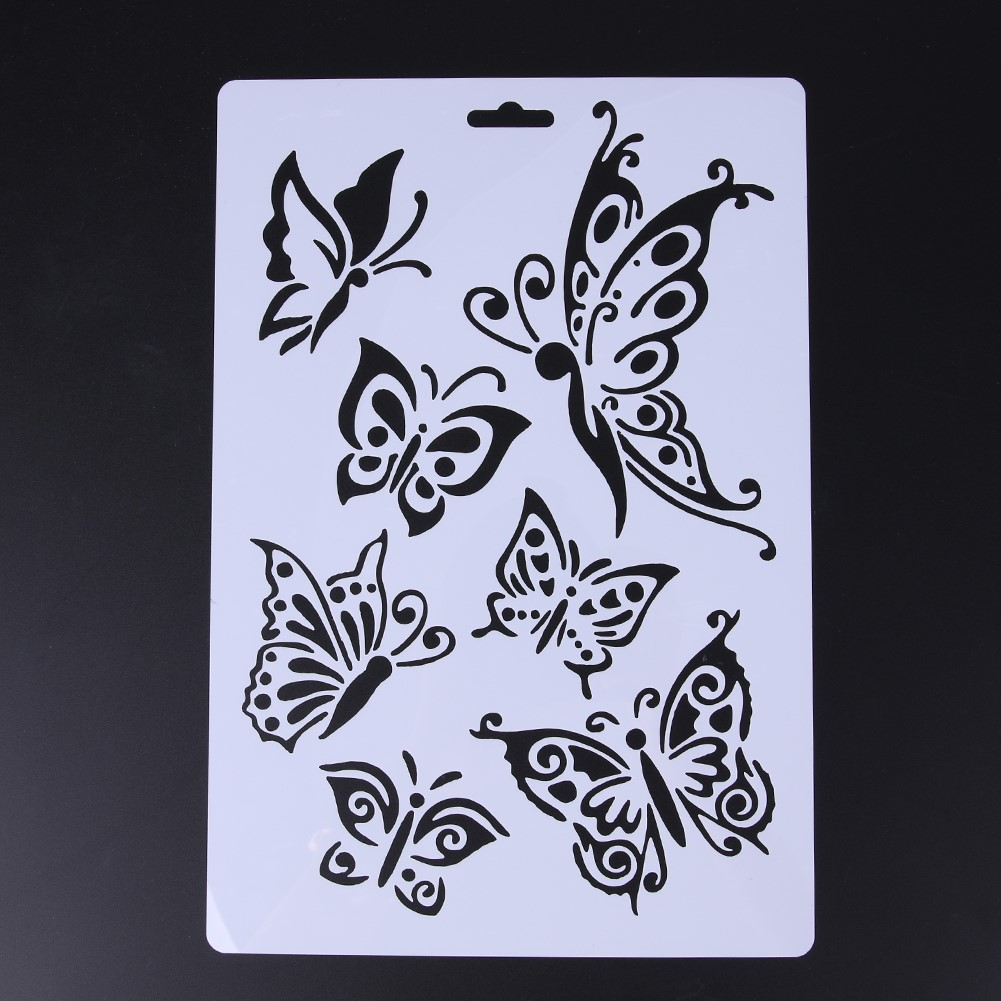 2pcs Lot Butterfly Stencils For Wall Painting Diy Scrap Booking