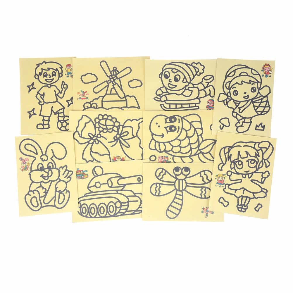 5 pz/lotto Bambini FAI DA TE Artigianato Istruzione Giocattolo per il regalo dei bambini Pittura di Sabbia Dei Bambini Dei Bambini Giochi di disegno Immagini