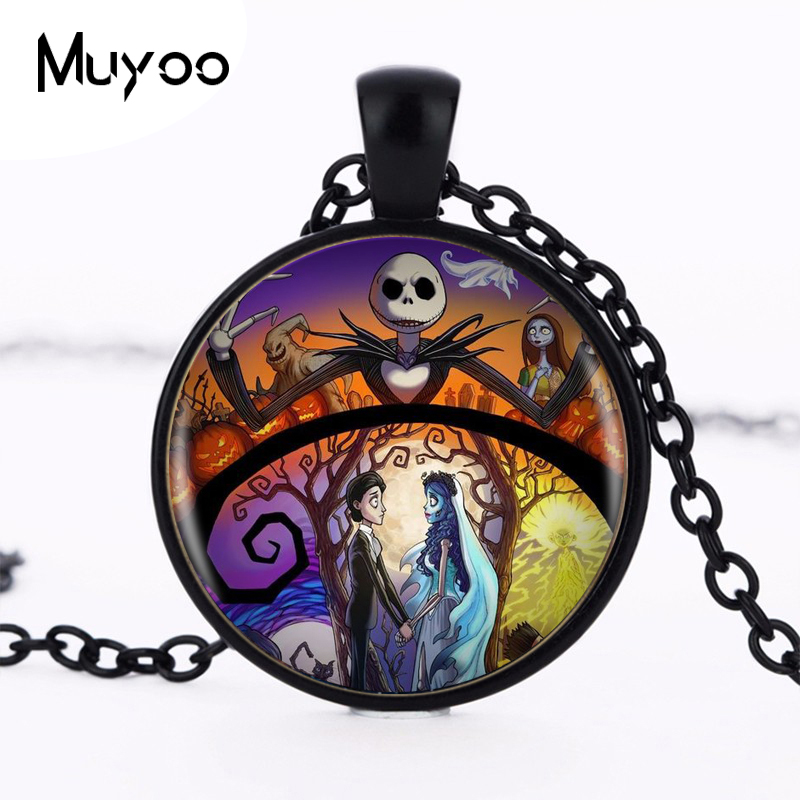 1pcs/lot Nightmare Before Christmas Silver Pendant Necklace Long Chian Statement Handmade Necklace For Women HZ1