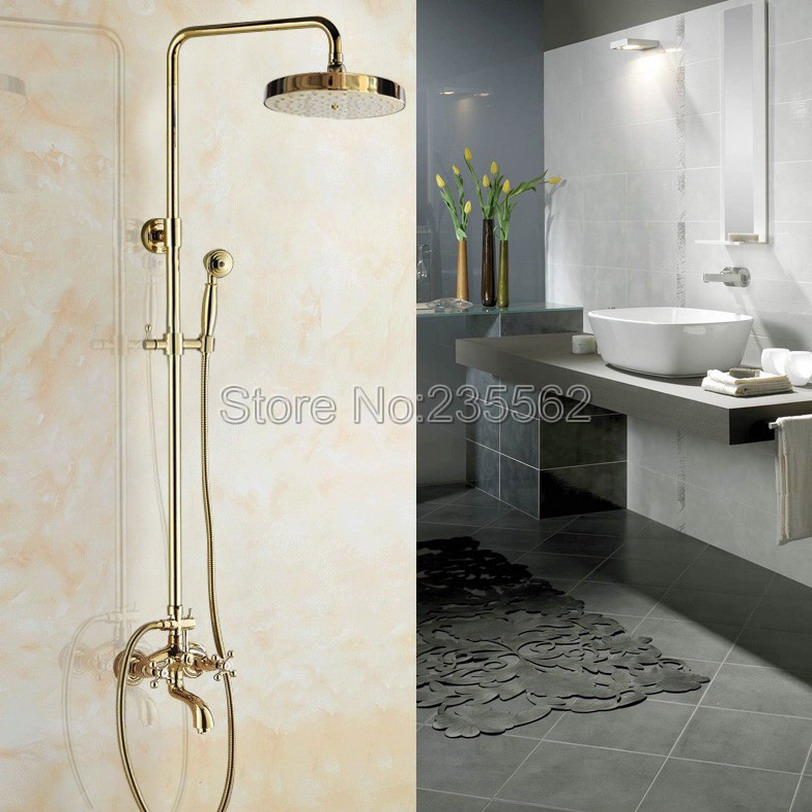 Polished Gold Color Brass Bathroom Rainfall Shower Mixer Faucet Set with Bathtub Taps + Handheld Shower lgf445