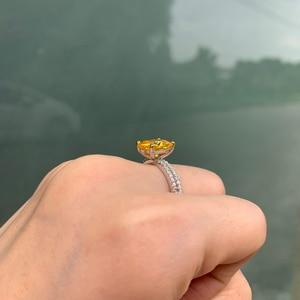 Image 5 - Newshe 2.7Ct黄色クッションカット固体 925 スターリングシルバーの結婚指輪婚約指輪ブライダルセット