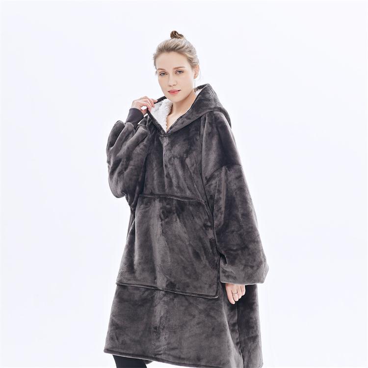 Outdoor Hooded Sweatshirt Hoodie Blanket Warm Coats Thick Fleece TV Blanket Throw Weighted Pullover Blanket for Men and Women-in Blankets from Home & Garden    1