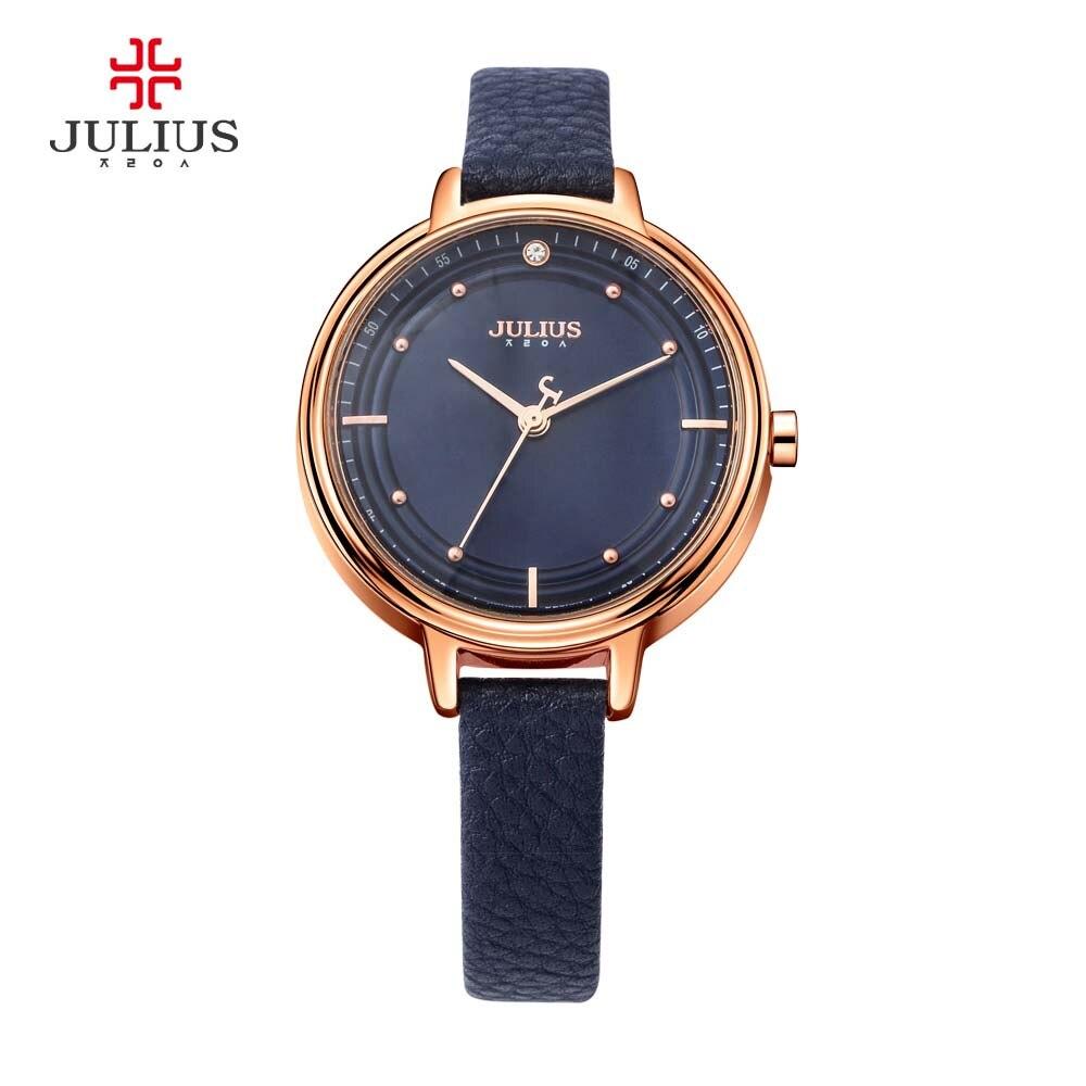 Julius Quartz Rose Gold Watches Women Girl Designer Rocking Beads Leather Watch Ladies Dress Simple Waterproof Wristwatch Reloj mance ladies brand designer watches
