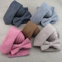 Feliavert Mens Necktie Set Fashion Solid Color Wool 6cm Tie+Bowtie+Handkerchief Sets Holiday Gift Wedding Tie Suit Pocket Square