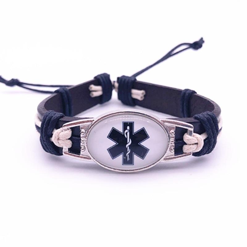Diabetes Emergency Medical Genuine Leather Bracelets & Bangles 25*18mm Glass Cabochon Bracelet Men Women Unisex Jewelry Gifts