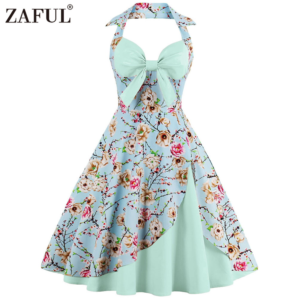 ZAFUL Pin up Vintage Summer Dress Retro Hepburn 1950s Rockabilly ...