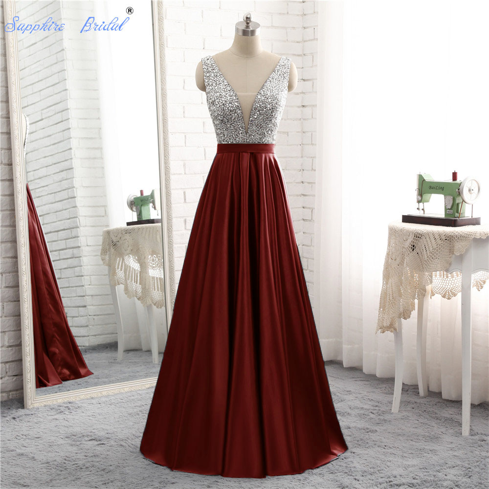 Sapphire Bridal 2018 New Arrival Silver Grey Burgundy A Line Satin Top Beaded   Evening     Dress   Hot Sale