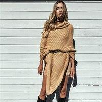 2018 autumn fashion clock long woman knit sweater European style casual solid bat wing sleeve cloak female sweater