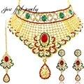 2017 índia kundan 3 pc oco collar vogue crystal & rhinestones laço cor da mistura para as mulheres pingente colares declaração de colarinho choker