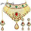 2017 India Kundan 3PC Hollow Collar Vogue Crystal&Rhinestones Collar Statement Necklaces Lace Mix Color For Women Pendant Choker
