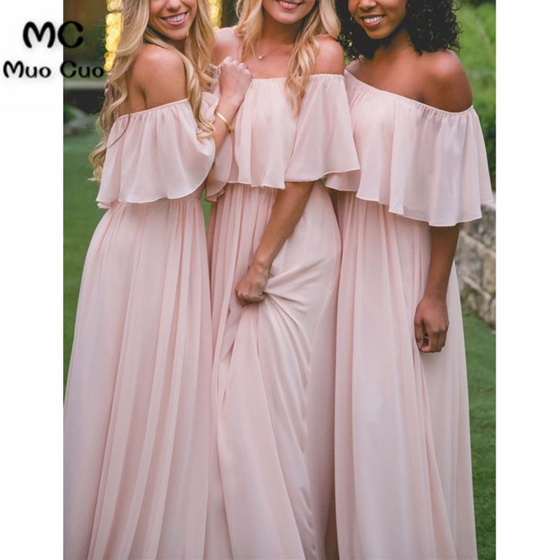 2018 Off the Shoulder   Bridesmaid     Dresses   Long Half Sleeve Formal Wedding Party   Dress   Chiffon Women   Bridesmaid     Dress   Long
