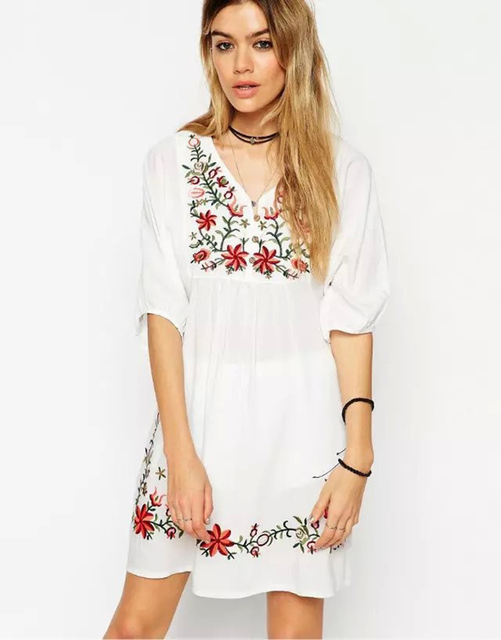 Women Ladie' Elegant sweet floral Embroidery white Dresses loose vintage V-neck half sleeve casual Vestidos A8