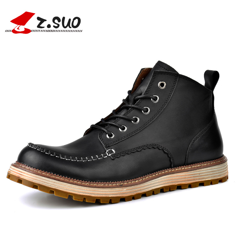 Z.SUO Brand Autumn/Winter Men's Genuine Leather Tooling Boots Lace Up Brush Off Cow Leather Handmade Men Ankle Boots