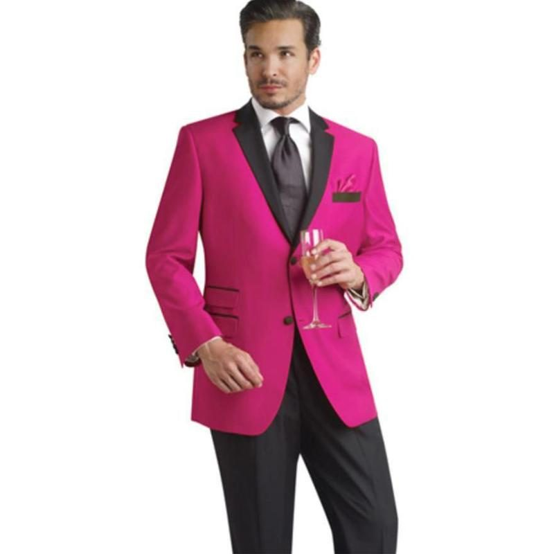 New Fashion Two Buttons Fuchsia Groom Tuxedos Groomsmen Notch Lapel Mens Suits Blazers (Jacket+Pants+Tie) W:836