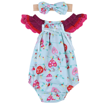 2017 New Cute Newborn Baby Girl Floral Romper Clothes Infant Bebes Lace Jumpsuit Sunsuit and Headband 2PCS Outfit Clothing Set