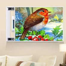 Part of the round diamond 5D DIY painting Magpie 3D embroidery cross stitch rhinestone home decoration gift