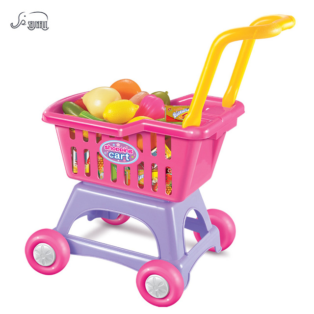 Shunhui Mini Supermarket Belanja Cart Dapur Set Mainan Anak Simulasi Makanan Buah Pretend Permainan