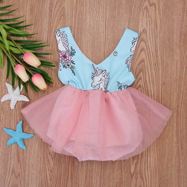 0d2423ecd the new Stock Summer Newborn Baby Girls Unicorn Lace Tulle Dress Skirt  Romper Outfits sweet and cute comfortable hot sell CH