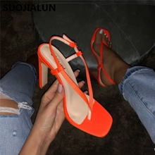 Women Summer Slippers High Heel Orange Sandals Ladies Sexy Party Shoes Strap Block Heels Sandals Shoes Peep Toe Shoes Size 35-40 ladies transparent square high heel sandals sexy peep toe mesh ankle boots summer high heels sandals women size 34 40