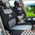 Cinza/vermelho/bege/azul Bordado do logotipo Parte Dianteira & Parte Traseira completa 5 Assento Tampa de Assento Do Carro Para Hyundai ix25 i30 ix35 SantaFe tucson