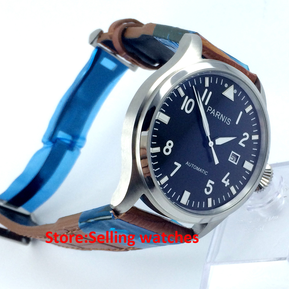 47mm parnis black dial big crown date automatic movement mens watch-in Mechanical Watches from Watches    1