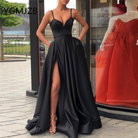 Black Long Evening Dresses With Pockets 2019 A line High Side Split Spaghetti Straps Women Formal Prom Gown Party Dress