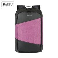 BAIBU Laptop Backpack Men Korean Waterproof Stitching Travel Bag Pack Purple Pink Fashionable School Bags for Teenage Girls Bags