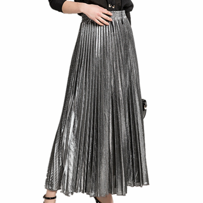 online store 4a361 07aa5 A Donna Lunghe Maxi Dorato Pieghe Metallico Gonne Gonna ...