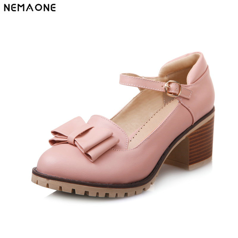 NEMAONE 6cm high heels mary janes women pumps sweet spring autumn ladies casual shoes size 42 43NEMAONE 6cm high heels mary janes women pumps sweet spring autumn ladies casual shoes size 42 43