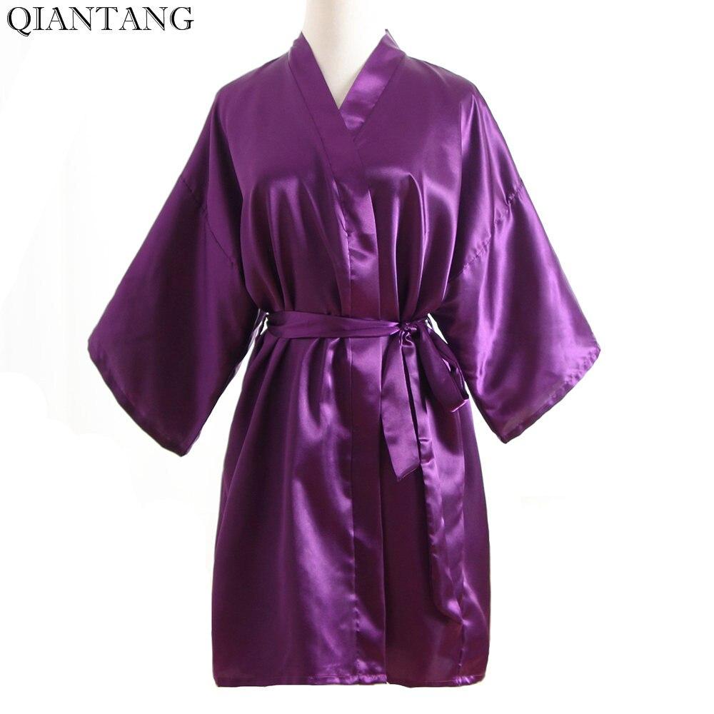 Plus Size Fashion Ladies Summer Short Kimono Mini Bath Robe Gown Purple Womens Rayon Yukata Nightgown Pijama Mujer Msf010