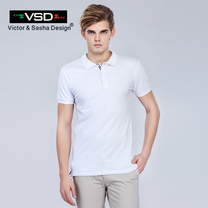 VSD 2017 Men's Summer Slim Short Sleeve   Polo   Shirts Cotton Embroidery Solid Brand Clothing White Gray Red Dark Blue Black Y6101