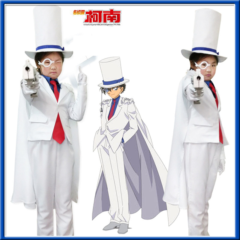 Kid the Phantom Thief Kaitou Kiddo Kids Costume Detective Conan Cosplay White Suit Hat