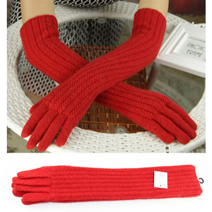 Image 4 - Guantes de lana de 45cm de largo para mujer, cálido tejido para invierno, modernos, negro, marrón, gris, codo, 2019