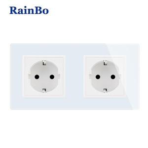 Image 1 - RainBo EU Power Wall Socket Standard Power Socket Glass Panel AC Wall Power smart outlet A28E8EW/B