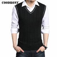 COODRONY Wool Vest Men 2017 Autumn Spring New Classic V Neck Sleeveless Sweater Men Cotton Knitwear