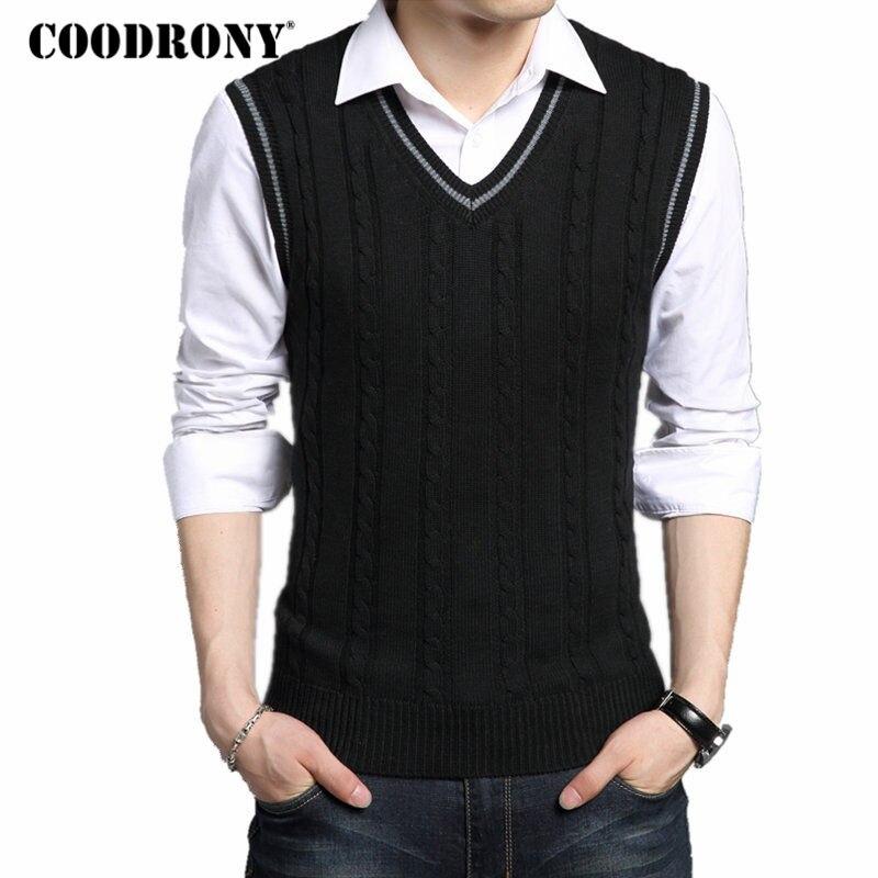 COODRONY Wool Vest Men 2017 Autumn Winter New Classic V-neck Sleeveless Sweater Men Cotton Knitwear Pull Men Brand Clothing 7401