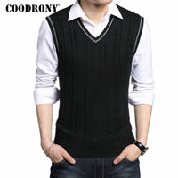 COODRONY Wool Vest Men 2017 Autumn Spring New Classic V Neck Sleeveless Sweater Men Cotton Knitwear
