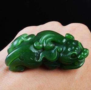 huij 002769 Hetian green jasper jade jadeite necklace pendant amulet pixiu foo dog fu lion