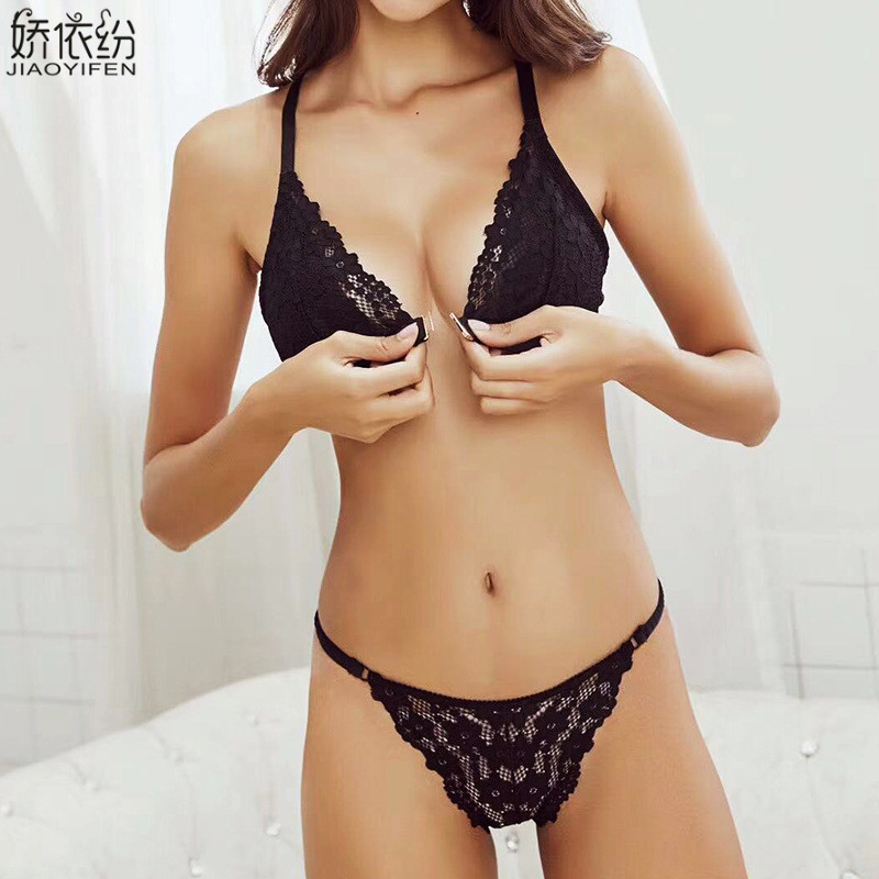 JYF Sexy Lace Ultra-thin Underwear Front Closure Women   Bra     Set   Summer Comfortable Sexy Y-line Straps Triangle Cup French   Bra     Set