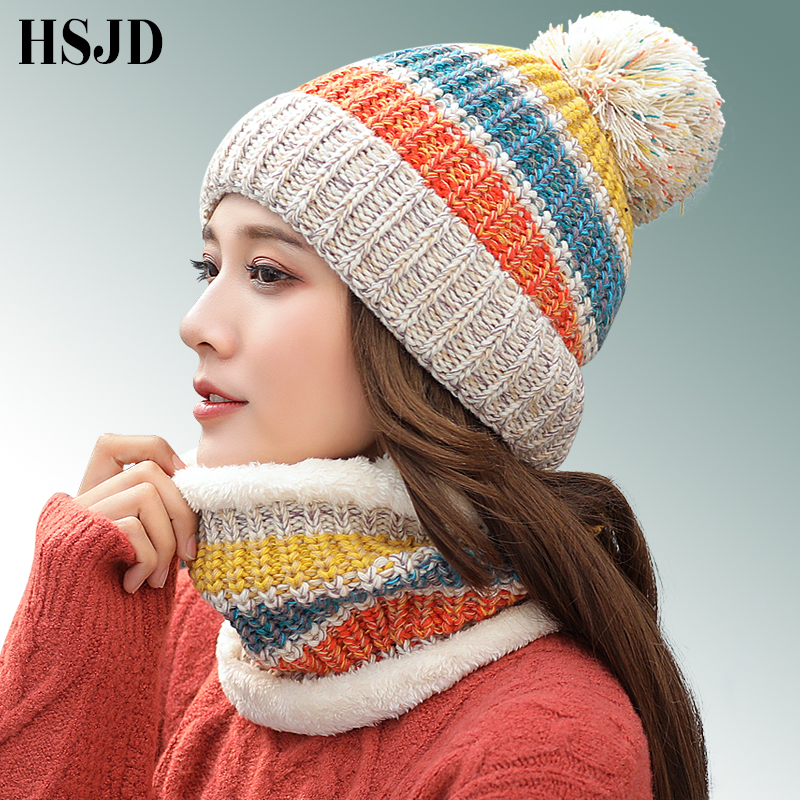 Brand Winter Beanies For Women Mixed Colors Knitted Hat Scarf Set Skullies Beanies Knit Big Pompom Thick Caps Female Winter Hat