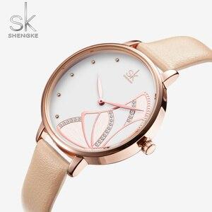 Image 5 - Shengke nova marca de luxo das mulheres relógio simples quartzo senhora relógio de pulso à prova dwaterproof água moda feminina relógios casuais reloj mujer