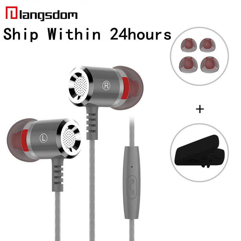 Original Langsdom M400 Wired Earphone fone de ouvido In-ear HiFi Stereo Headset With Mic 3.5mm Universal Earbuds For iPhone