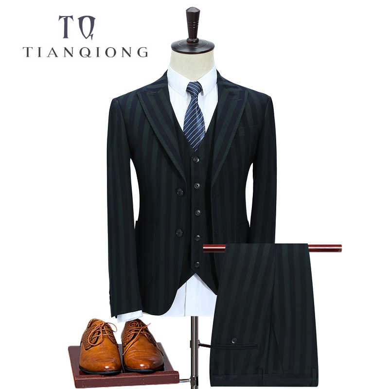 TIAN QIONG Polyester Men Clothing Causal Men Suit Tailor Blazer Grey Suits (Jacket+Pants+Vest) Slim Fit Groom for Custom Made