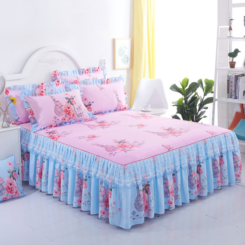 Floral Fitted Sheet Cover Graceful Lace Bedspread Bedroom Bed Cover Skirt Decoration Non-slip Mattress Cover Skirt Cubrecama
