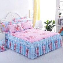 цены на Floral Fitted Sheet Cover Graceful Lace Bedspread Bedroom Bed Cover Skirt Decoration Non-slip Mattress Cover Skirt cubrecama  в интернет-магазинах