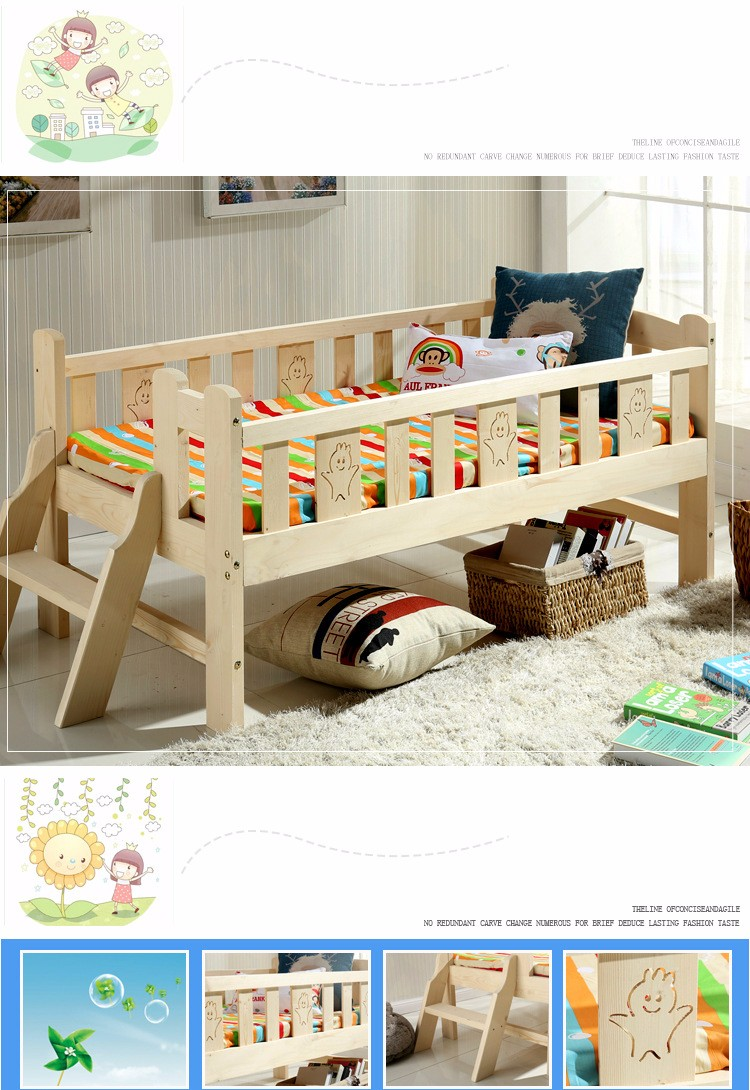Wooden Beds Us 579 6 15 Off Solid Wood Children Bed Multifunctional Widen Child Kids Wooden Bed Durable Pine Wood Guardrail Bed With Ladder In Children Beds